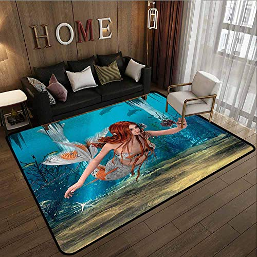 Pet Rug,Mermaid,Large Area mat,3'11