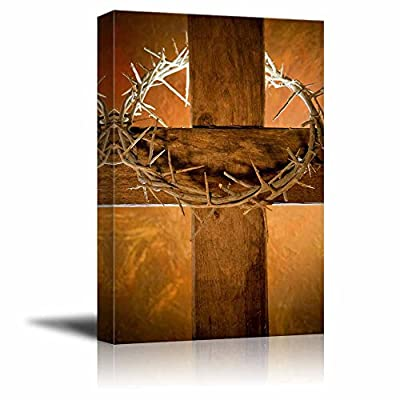 Canvas Prints Wall Art - Crown of Thorns Hanging on a Wooden Cross at Easter | Modern Wall Decor/Home Decoration Stretched Gallery Canvas Wrap Giclee Print. Ready to Hang - 16