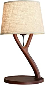 FL-63332A,Nordic Table Lamp Fabric Shade,Dimmer Wood Branch Table Light for Bedroom Study Office Studio