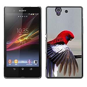 Pluma Red Parrot Gris Pastel Pájaro tropical- Metal de aluminio y de plástico duro Caja del teléfono - Negro - Sony Xperia Z L36H