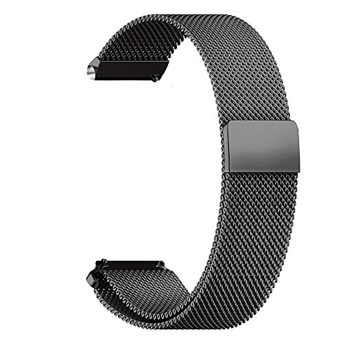 XIHAMA 14mm Universal Watch Band, Mesh Stainless Steel Quick Release Bracelet Adjustable Replacement Smart Watch Strap for Asus Zenwatch 3, Pebble Time Round (Black, 14mm) ()