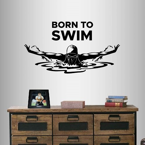 (In-Style Decals Wall Vinyl Decal Home Decor Art Sticker Born to Swim Phrase Quote Swimming Girl Woman Swimmer Butterfly Swim Water Sport Room Removable Stylish Mural Unique Design 2314)