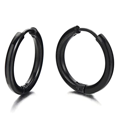 Pair Stainless Steel Black Plain Circle Huggie Hinged Hoop Earrings for Men Women