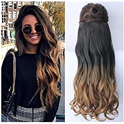 "25"" Inches Half Head One Piece Long Wavy Clip in Hair Extensions Ombre 2 Tones DL (25"" - Natural black/honey blonde)"