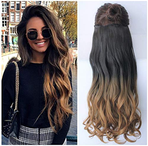 """25"""" Inches Half Head One Piece Long Wavy Clip in Hair Extensions Ombre 2 Tones DL (25"""" - Natural black/honey blonde)"""