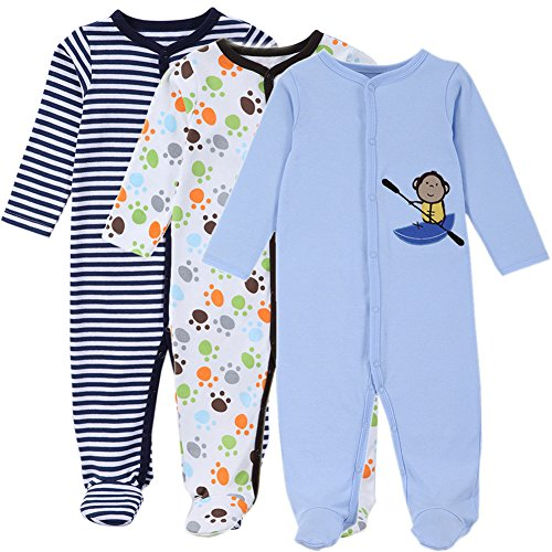 Baby Pajamas for Boys- 3 Packs Infant Footed Sleeper for Baby Boy Newborn Overall Long Sleeve Rompers Jumpsuit (9-12 Months, No2)