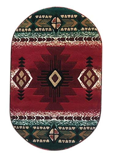 (Southwest Native American Oval Area Rug Red Concord Design C318 (3 Feet X 4 Feet 7 Inch))