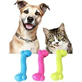 Dog Toy Rubber Molar Tooth of Pets Toys Dog Bite Resistant Molars Training Pet Chew Toy Dog Molar Stick with Massage Beads Soft Bite Resistant Dumbbell For Teeth Cleaning, Playing (Random Color)