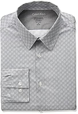 Calvin Klein Men's Thermal Stretch Xtreme Slim Fit Wave Print Dress Shirt