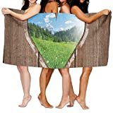 Haixia Thick Bath Towel Beach/Bath/Pool Towel 51.2'' X 31.5'' Outhouse Heart Window View from Wooden Rustic Farm Barn Shed with Chalk Art Image Full Brown Blue and Green