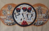Home Decor Wall Canvas Painting Hand Painted On Canvas 59''W x 39''H Africa Native African Caribbean Island Beach Boat Ocean & Market Women With Baskets & Fruits (Unframed) Wall Art