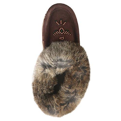 Pantofole Da Donna In Camoscio Lauroceanico Con Mocassini Con Collo Di Pelliccia Di Coniglio