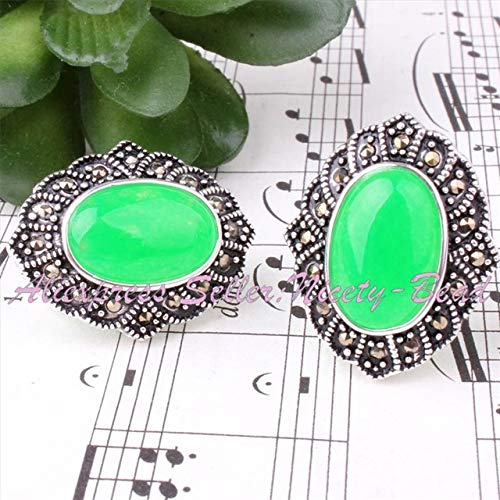 Calvas Pretty Oval Green Jad e Gem Stone Beads Marcasite Tibetan Silver Fashion Style Pendant Earrring 22x26mm/25x35mm, (Color: - Gemstone Oval Pendant 25x35mm