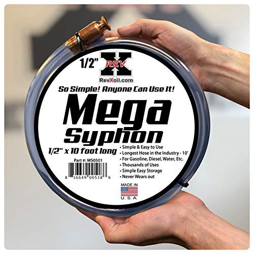 REV-X Mega Syphon 1//2 x 10 Foot Long Self Priming Safe Siphon Hose for Water//Gas//Fuel