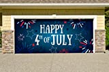 Outdoor Patriotic American Holiday Garage Door Banner Cover Mural Décoration - Fireworks Happy 4th of July - Outdoor American Holiday Garage Door Banner Décor Sign 7'x 16'