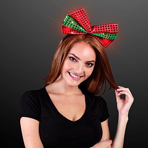 - Sequin Light Up Green & Red Christmas Bow Headband