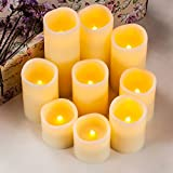 """Enpornk Flameless Candles LED Pillar Battery Operated Candles with Remote Timer Ivory Color Set of 9 (D 3"""" x H 3""""/3""""/4""""/4""""/5""""/5""""/6""""/7""""/"""
