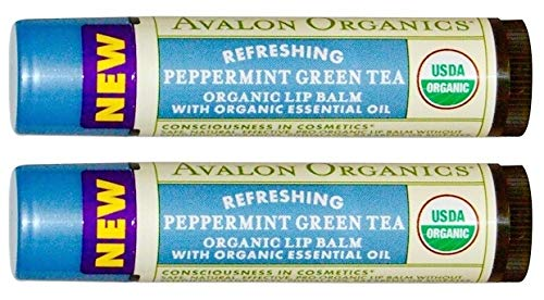 Avalon Naturals Refreshing Peppermint Green Tea Organic Lip Balm (Pack of 2) with Sunflower, Beeswax, Olive Fruit, Peppermint, Tea Tree, Hemp, Chamomile and Stevia, 0.15 oz. Each