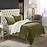 Evie Plush Microsuede Sherpa Lined Green Queen 3 Piece Blanket & Shams Set