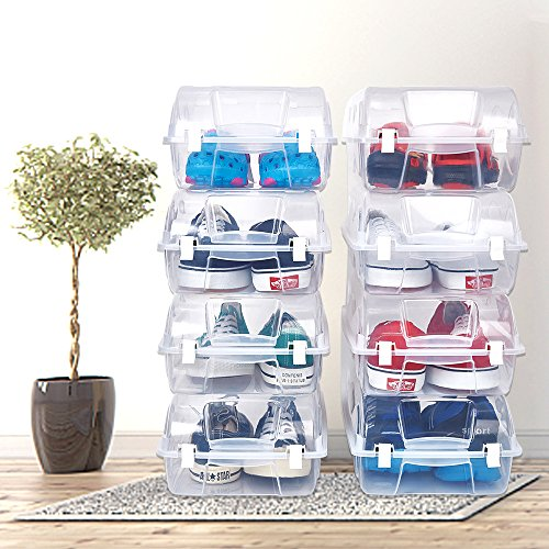 ckable Clear Plastic Shoe Box Multi-Purpose Transparent Closet Storage Box Container for Home Office ()
