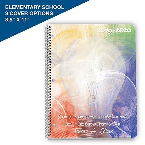 Dated Elementary Student Planner 2019-2020 School Year, 8.5x11 inch Matrix Style Datebook with Create Lightbulb Cover