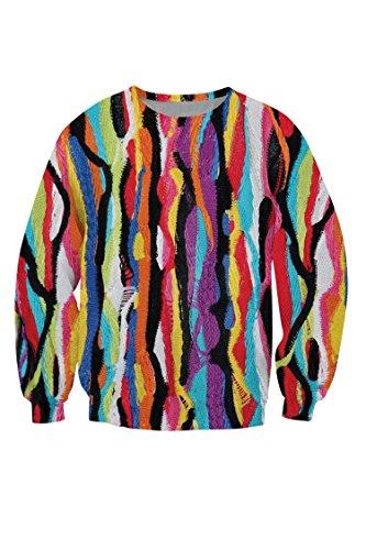 R-deer Abstract Coogi Print Long Sleeve Crewneck Active Pullover Sweatshirts