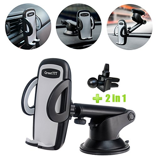GreatYYT 2-in-1 Car Mount Holder, Air Vent & Dashboard & Windscreen Car Phone Mount Holder for iPhone X 8 8Plus 7 7Plus 6 6s 6Plus 5s Samsung Galaxy S8 S7 S6 Note 8 7 LG Nexus Sony Nokia GPS etc