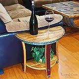 Half Moon Sofa End Table - Wine Barrel Handcrafted - Central Coast Creations - Wine Barrel Furniture