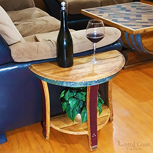 Half Moon Sofa End Table - Wine Barrel Handcrafted - Central Coast Creations - Wine Barrel Furniture