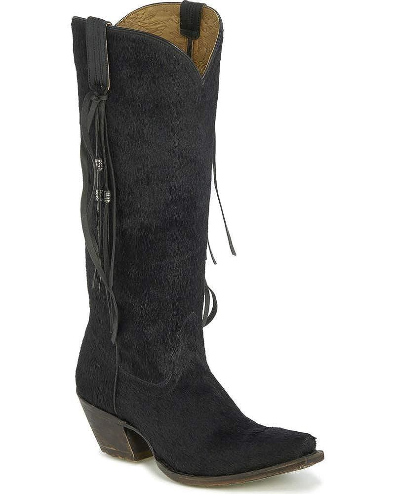 b8914d6c100 Tony Lama Women's Nyoka Black Hair On Hide Tassel Cowgirl Boots - Snip Toe  15