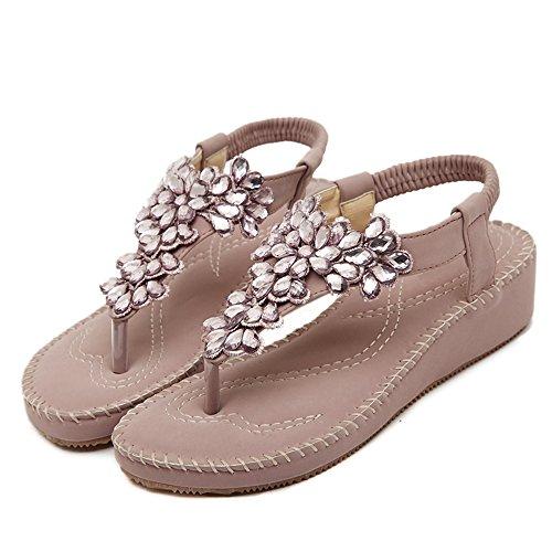 Damen Flip-Flops Sandalen Schuhe von Blumen Strasssteine Böhmen Stile Rosa