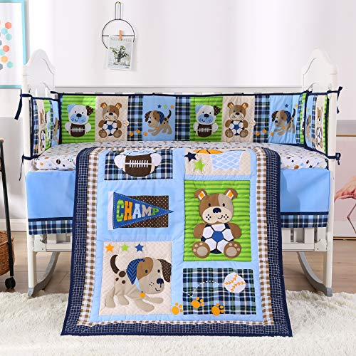 Wowelife Nursery Set Sports 7 Piece Blue Baseball Dog and Bear Crib Bedding Sets for Boys with 4 Bumpers (Sports 9 Piece Crib)