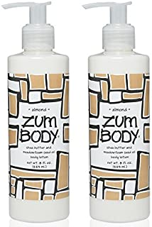 product image for Zum Almond Body Lotion (Pack of 2) with Dandelion, Red Clover, Meadowfoam Seed Oil, Shea Butter, Aloe, Jojoba Oil, Sunflower Oil, Carrot Extract, Hibiscus Flower, Sweet Almond and Avocado, 8 oz