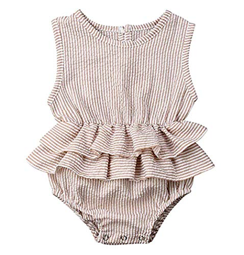 Hopeful Newborn Infant Baby Girls Romper Shirt Clothes Cotton Sleeveless Ruffle One-Piece Bodysuit Outfit 0-24M (Stripe, 80(6-12 Months))