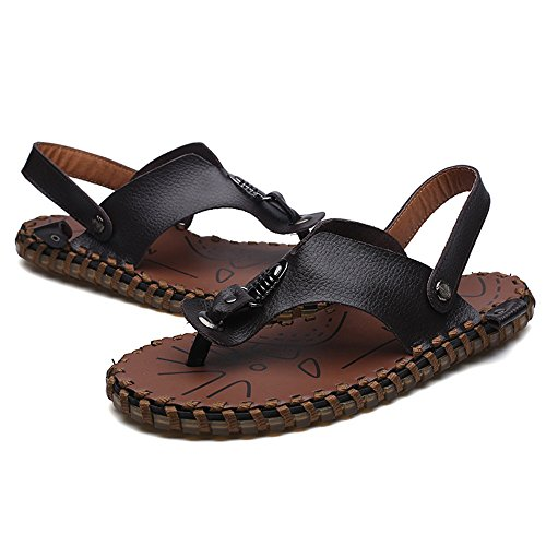 Bianca Dimensione Nero cinturino per EU in antiscivolo vera pelle con Sandali Infradito Infradito Pantofola Color 40 uomo 4Ow7q