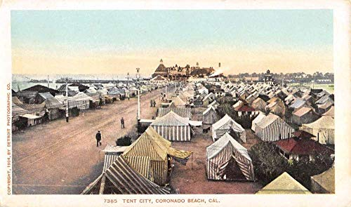 - Coronado Beach California Tent City Birdseye View Antique Postcard K7876676