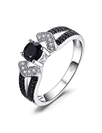 JewelryPalace Elegant 0.8ct Genuine Black Spinel Statement Ring 925 Sterling Silver