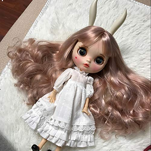 30Cm BJD Mini Articulated Doll, Blythe ICY Dolly Ball Jointed Dolls, Face Makeup, Cute Dress, 4 Colors big Eyes Different Hands Pink Hair Free To Change Puppe for Adult Collection,Whitedressset,7joint -