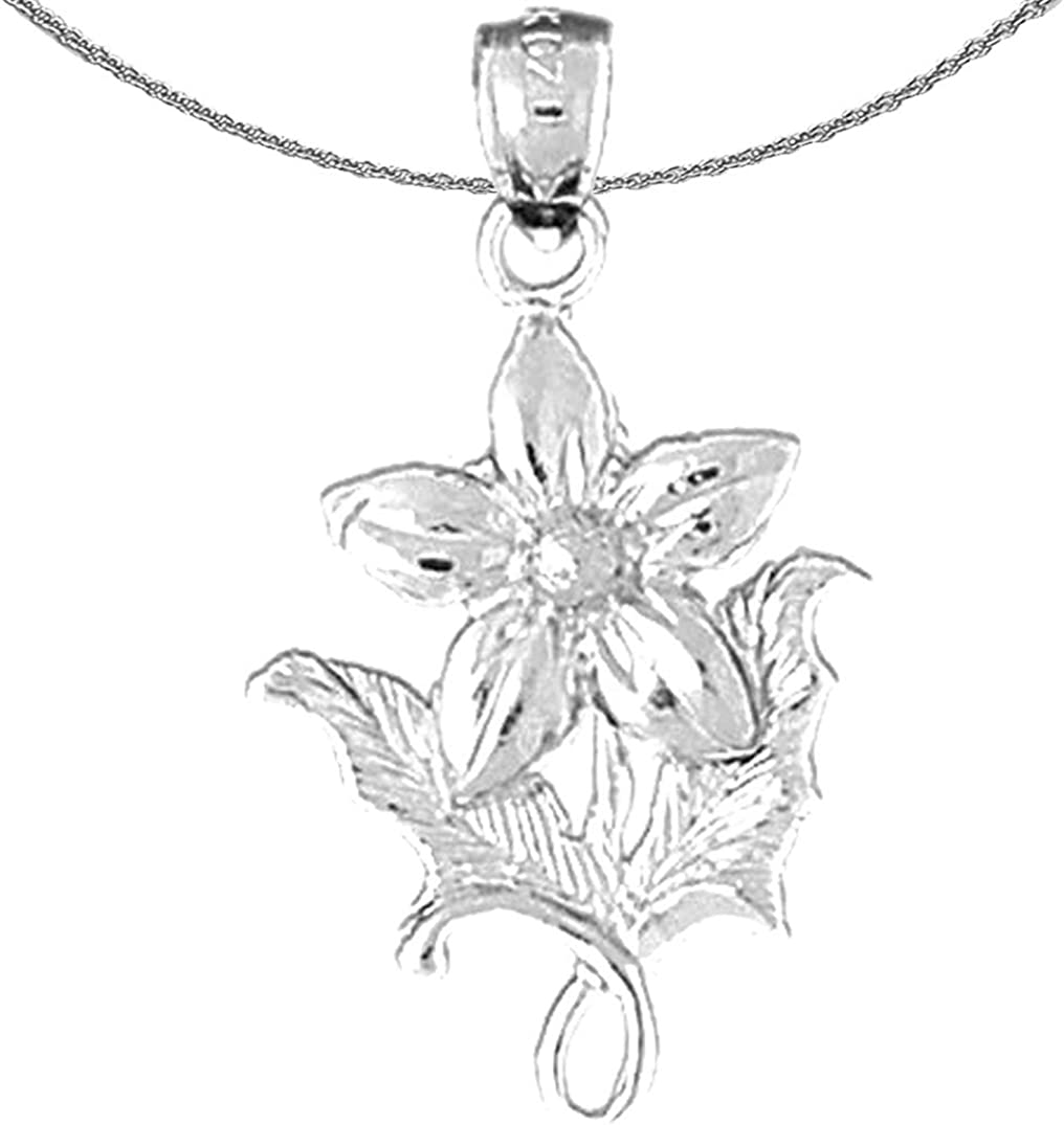 Rhodium-plated 925 Silver 5 Petal Bluet Flower Pendant with 18 Necklace Jewels Obsession Silver Flower Necklace