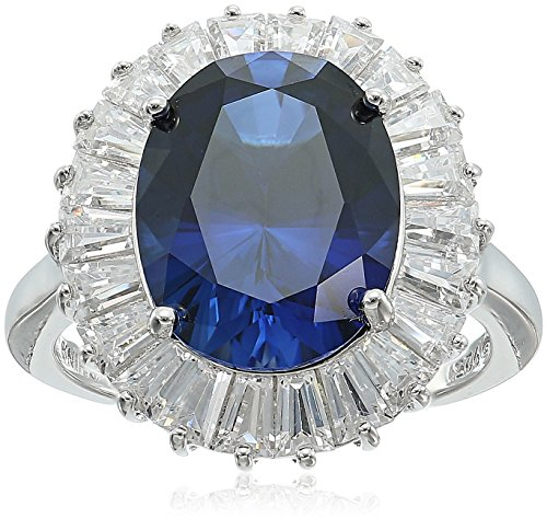 Sapphire Ballerina (Platinum Plated Sterling Silver Oval Created Sapphire Ballerina Style Swarovski Zirconia Accents Ring, Size 7)