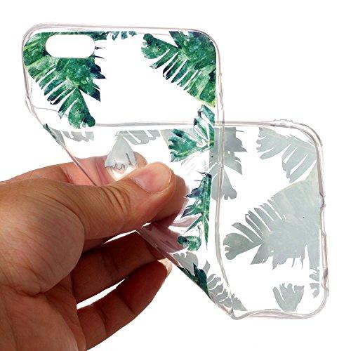 iPhone 6 6S Hülle , Leiai Grünes Blatt TPU Transparent Clear Weich Tasche Schutzhülle Silikon Handyhülle Stoßdämpfende Schale Fall Case Shell für Apple iPhone 6 6S