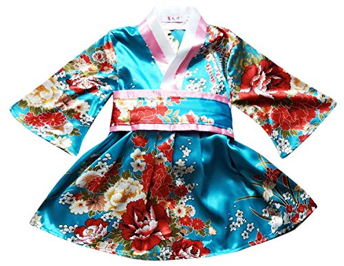 FANCYKIDS Japanese Girls Toddler Baby Kimono Robe Dress Outfit Costume (6 to 12 Months, Aqua Flowers)]()