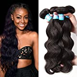 Jolia Hair 7a Grade Virgin Brazilian Body Wave Hair 3 Bundles, 100% Unprocessed Human Hair Weave Extensions Can Be Dyed and Bleached (12 14 16, Natural Black Color)