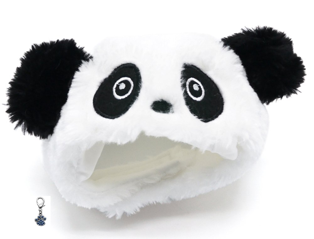 Plush Faux Fur Panda Bear Hat with Charm for Dogs Sizes XS Thru XL (Panda, Small fits 11.5''-14'') by Dogo I