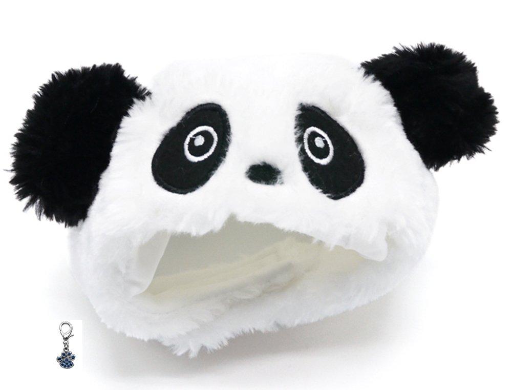 Plush Faux Fur Panda Bear Hat with Charm for Dogs Sizes XS Thru XL (Panda, Small fits 11.5''-14'')