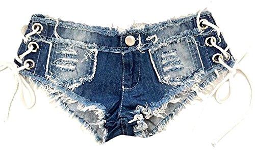 LTCOMPANY Women Sexy Mini Hot Pants Cut Off Low Waist Denim Jeans Pants (Denim Hot Pants)