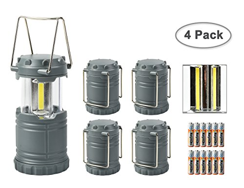 Worth LED Camping Lantern Ultra Bright Portable Collapsible Hanging Flashlight Water Resistant with 3 AAA Batteries for Hiking Fishing,Gray(4 Pack)