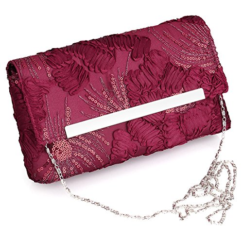 YYW Floral Clutch Bag - Cartera de mano para mujer wine red color