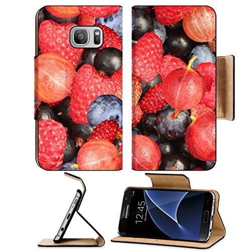 MSD Premium Samsung Galaxy S7 Flip Pu Leather Wallet Case IMAGE ID: 13982478 Mixed Berries Seamless Texture (Food Photographic Memory)