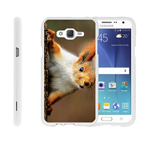 TurtleArmor | Compatible for Samsung Galaxy J7 Case (2015) | J700 [Slim Duo] Slim Compact 2 Piece Hard Snap On Case Grip Matte on White Animal Design - Red Squirrel